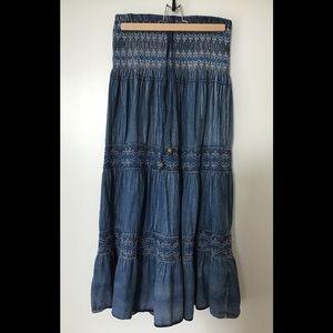 Lapis convertible cotton boho maxi skirt